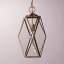 Metal Glass Polyhedron Ceiling Light 1 Light Vintage Style Hanging Light in Gold for Bathroom Hotel