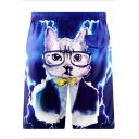 Mens Designer Dark Blue Cartoon Cat Drawstring Bathing Trunks with Liner and Pocket