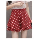 Girls Summer High Rise Fashion Polka Dot Printed Layered Culottes Shorts