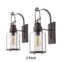 Metal Glass Cup Shape Wall Light Restaurant Coffee Shop Pack of 2 Single Light Vintage Sconce Light in Rust