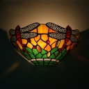Dragonfly Pattern Conical Wall Light Tiffany Style Rustic Glass Shade Sconce Lamp for Bedroom Hallway