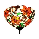Red Flower Pattern Sconce Wall Lamp 1 Light Stain Glass Tiffany Style Rustic Sconce Light for Bedroom