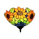 Sunflower Pattern Wall Light Tiffany Style Rustic Stained Glass 1 Light Sconce Light for Cafe