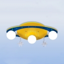 Yellow and Blue Spaceship Ceiling Light Creative Acrylic Wood LED Flush Mount Light for Boy Girl Bedroom