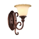 Metal Glass Wall Lamp 1 Light Classic Bell Shade Sconce Light in Rust for Hotel Restaurant Bar