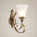 1/2 Lights Sconce Light with White Bell Shade Antique Style Glass Metal Wall Lamp for Bedroom Hallway