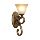 Study Living Room Sconce Light Metal and Glass 1 Light Classic White Bell Shade Wall Lamp