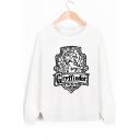 Popular Gryffindor University Logo Printed Round Neck Long Sleeve White Sweatshirt