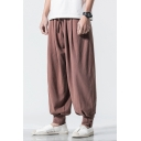 Spring and Summer Chinese Style Men's Baggy Carrot Fit Trousers Blommers with Drawstring