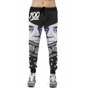 Men's 3D Black Emoji President's Dollar Pattern Track Pants Jogger Sweatpants