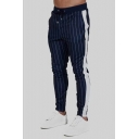 Guys Stripe Drawstring Waist Cotton Skinny-fit Track Pants Pencil Pants