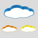 Yellow/Blue/Orange LED Light Fixture Lovely Cloud Shape Acrylic Ceiling Mount Light for Kindergarten