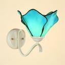 Blue Flower Shade Wall Lamp 1 Light Mediterranean Style Glass Sconce Light for Bathroom