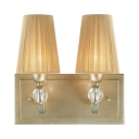 Fabric and Metal Wall Lamp Living Room Hotel 2 Lights Rustic Style Beige Tapered Shade Wall Light