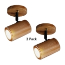 (2 Pack)Bamboo Cylinder Small Spot Light Angle Adjustable 1 Head Rustic Style Light Fixture for Shop Display Window