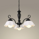 Dining Room Scalloped Edged Chandelier Metal and Ceramics 3/6/8 Lights Classic Black Ceiling Light