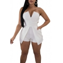 Womens Sexy Strapless V-Neck Solid Color Nightclub Slim Bandeau Romper Playsuit