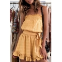 Womens Summer Fashion Linen Strapless Tied Waist Pleated Yellow Ruffled Romper