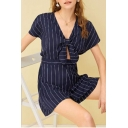 Women's Fashion Blue Striped Printed Knotted V-Neck Short Sleeve Romper