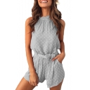 Women's Summer New Stylish Classic Polka Dot Print Halter Neck Tied Waist Romper with Pocket