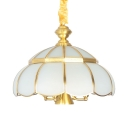 Traditional Style Pendant Light 6 Lights Frosted Glass and Metal Chandelier for Bedroom Restaurant
