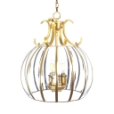 4 Lights Melon Shade Chandelier Classic Style Clear Glass and Metal Pendant Light for Foyer Hallway