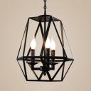 Candle Shape Dinging Room Chandelier Metal 3/4 Lights Antique Style Suspension Light in Black