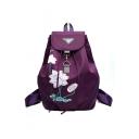 Women Lotus Printed Large Capacity Nylon Purple Backpack 26*13*39 CM