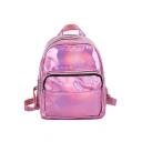 Simple Fashion Women's Laser Glossy Bags Zipper School Backpack 21*10*25 CM