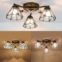 Conical/Bell/Dome Ceiling Light Vintage Glass Semi Flush Mount Light for Study Bedroom