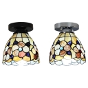 Kitchen Flower Flush Mount Light Stained Glass 1 Light Rustic Style Ceiling Light