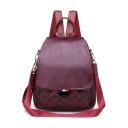 Trendy Rhombus Check Pattern PU Leather Shoulder Bag Backpack 25*11*29 CM