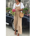 Women's New Khaki Plain Sleeveless Wide Legs Loose Overall Jumpsuit