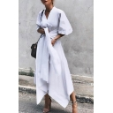 New Trendy Simple Plain Sexy V-Neck Half Sleeve Bow-Tied Waist Asymmetrical Maxi Dress For Women