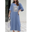 Women's Summer 19 Letter Print Round Neck Half Sleeve Loose Maxi Cotton T-Shirt Dress