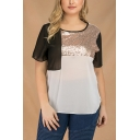 Women's Fashionable Color Block Sequin-Embellished Patch Short Sleeves Round Neck Chiffon Tee