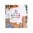 New Trendy A CUP OF TAE Letter Print Round Neck Short Sleeve Graphic Tee For Girls
