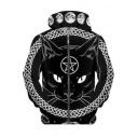 Cat Moon Pentagram Pattern Zip Up Long Sleeve Hoodie in Black
