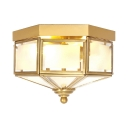 Living Room Flush Mount Light Glass 2 Lights Antique Style Ceiling Lamp in Brass