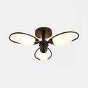 3/6/8 Lights Flower Semi Ceiling Mount Light Modern Metal Ceiling Lamp in Black for Restaurant