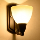 Bowl Shade Sconce Light 1 Light Simple Style Glass Metal Wall Light in Black for Bedroom Stair