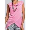 Womens Simple Solid Color Sleeveless Irregular T-Shirt Top