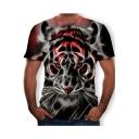 Men's Summer Funny 3D Leopard Printed Basic Round Neck Short Sleeve Black T-Shirt