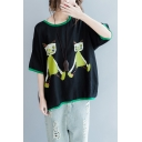 Womens Summer Contrast Trim Cartoon Printed Plus Size Oversized Cotton and Linen T-Shirt