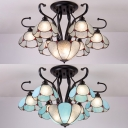 Blue/Clear Glass Dome Ceiling Light 7 Lights European Style Semi Flush Light for Dining Room