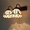 Dome Living Room Sconce Light with Pull Chain 2 Lights Stained Glass Baroque Wall Light