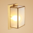 Frosted Glass Rectangle Wall Light 1/2 Lights Modern Style Sconce Light in Brass for Bathroom