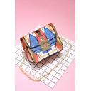 Chic Cartoon Printed Red and Blue Crossbody Bag with Chain Strap 17*8*13 CM