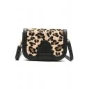 Stylish Vintage Leopard Pattern Black and Brown Crossbody Saddle Bag 20*5.5*14 CM