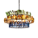 Restaurant Cafe 3-Ring Ceiling Lamp with Colorful Feather 6 Lights Rustic Style Chandelier